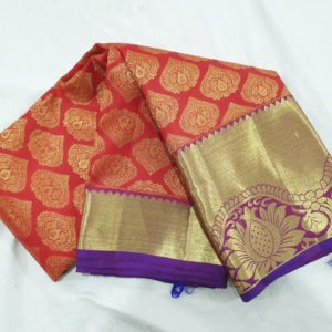 Kanchi Pattu bridal red with violet saree